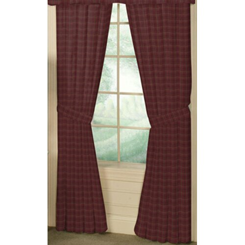 Patch Magic Dark Maroon Checks Cotton Tab Top Curtain Curtain Panel