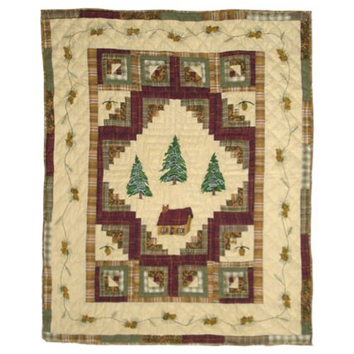 Forest Log Cabin Cotton Throw