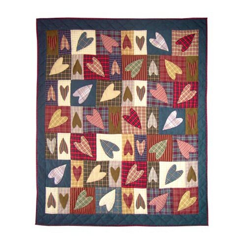 Patch Magic Primitive Hearts Cotton Throw Quilt