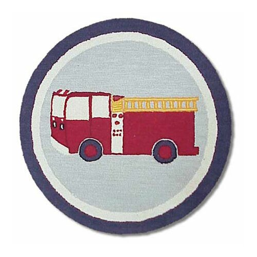 Patch Magic Fire Truck Blue Kids Rug