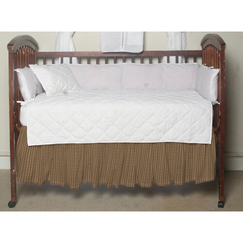 Patch Magic Brown and Golden Checks Fabric Crib Dust Ruffle