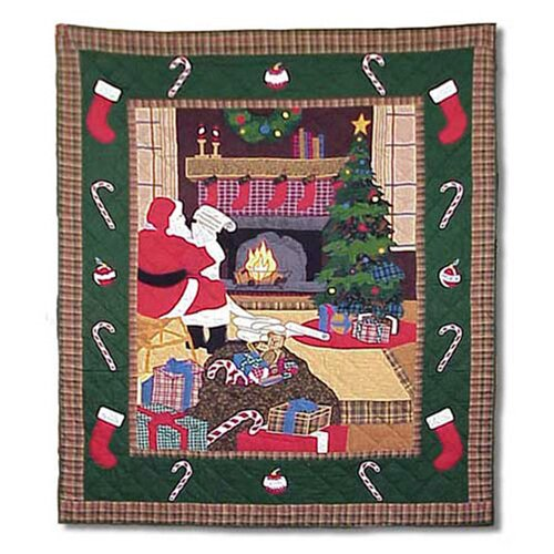Santa By The Fireside Cotton Throw