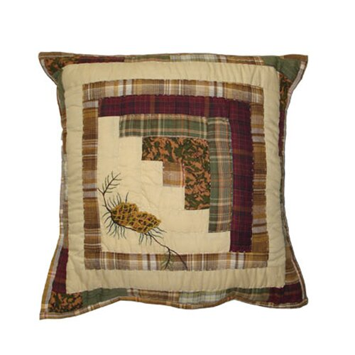 Blue Log Cabin Cotton Toss Pillow