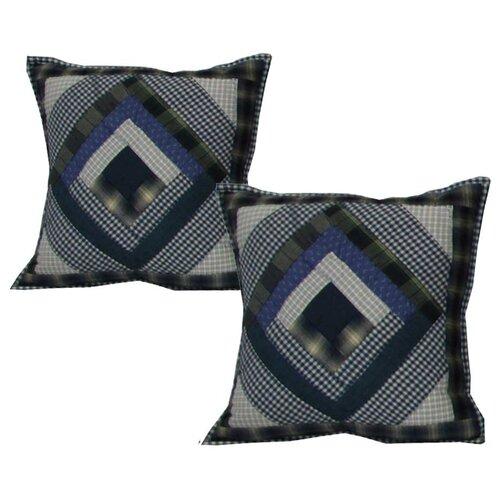 Patch Magic Log Cabin Cotton Toss Pillow