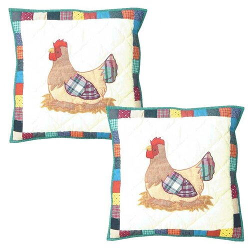 Rooster Hen Cotton Pillow (Set of 2)