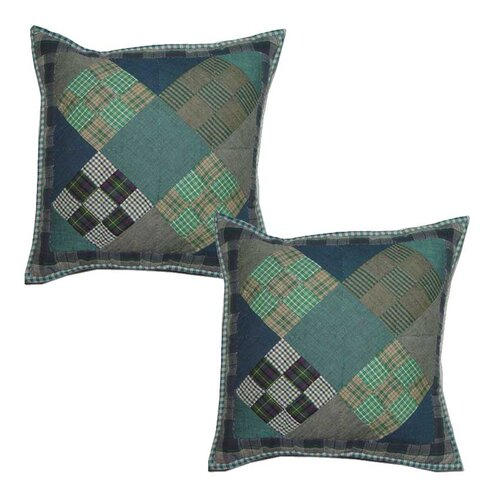 Chambray 9 Patch Cotton Toss Pillow (Set of 2)
