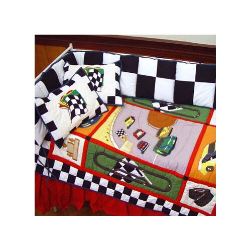 Racecar 6 Piece Crib Bedding Set