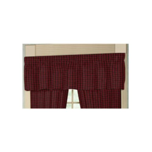 "Patch Magic Red and Black Plaid White Lines 54"" Curtain Valance"