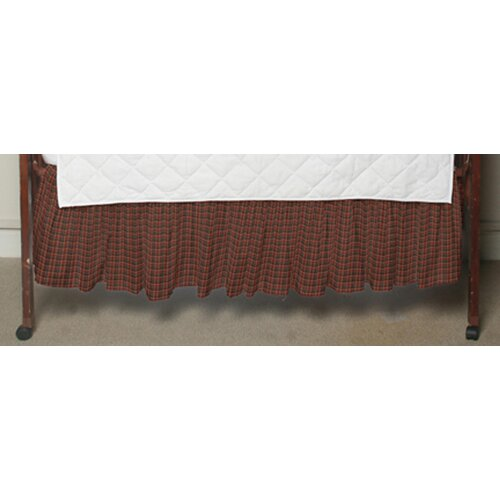 Dark Red and Black Plaid Fabric Crib Dust Ruffle