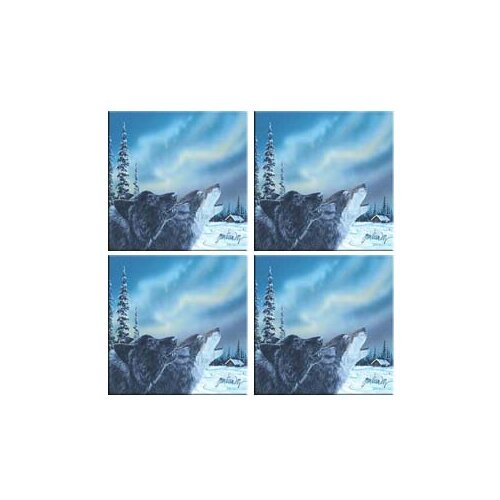 Tuftop Van Zyle Wolf Duet Coasters (Set of 4)