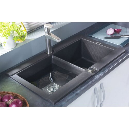 "Astracast 33"" x 20"" Geo Granite ROK Double Bowl Kitchen Sink"