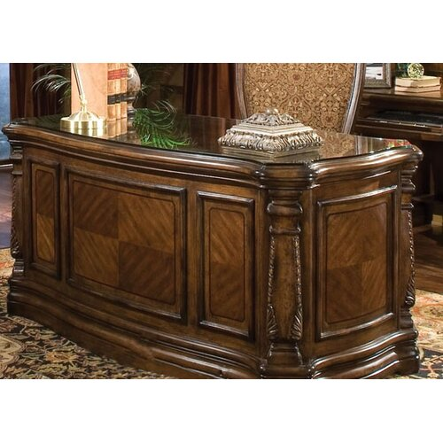 AICO AOS OFFICE Windsor Court Executive Desk with Glass Top