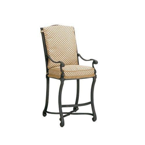 Woodard Landgrave Villa Stationary Barstool with Cushions