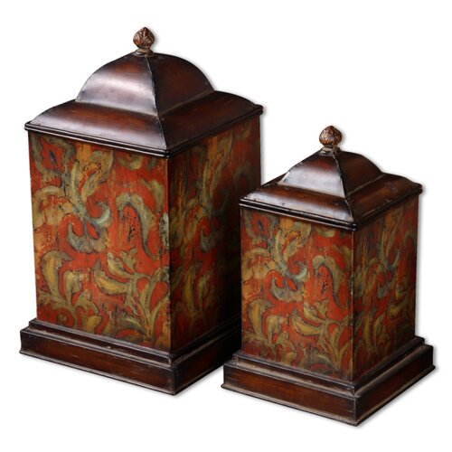 Colorful Flowers Canister in Brown (Set of 2)