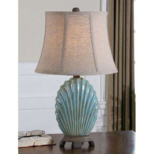 """Bedroom Lamps Gold Coast: Uttermost Seashell 23"""" H Table Lamp With Bell Shade"""