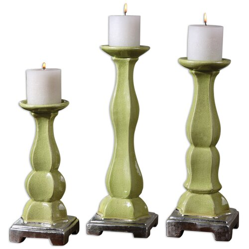 Uttermost 3 Piece Irwyn Ceramic Candlestick Set