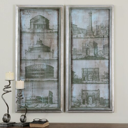 Architectural Survey by Grace Feyock 2 Piece Painting Print on Shadow Box Set