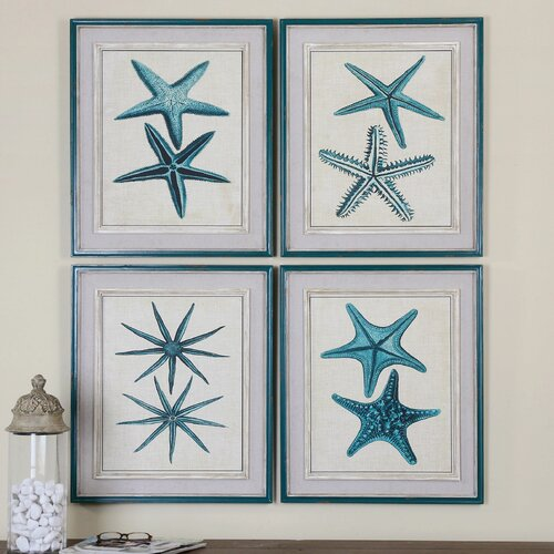 Coastal Starfish by Grace Feyock 4 Piece Framed Painting Print Set