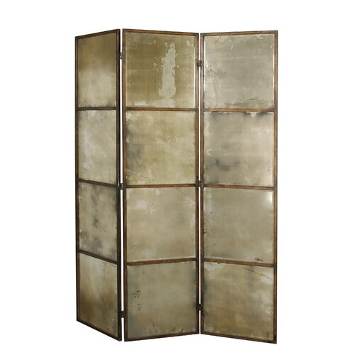 "Uttermost 80"" x 63"" Avidan Mirrored 3 Panel Room Divider"