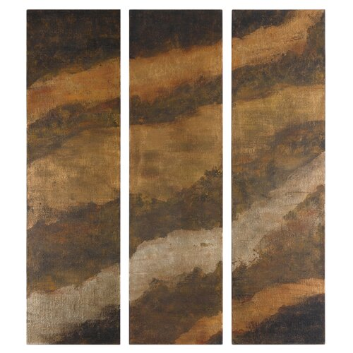 Uttermost Hot As Fire Panels by Feyock 3 Piece Original Painting Set