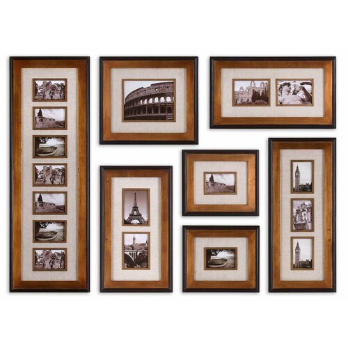 Newark Photo Collage by Grace Feyock 7 Piece Framed Photographic Print Set in Antiqued Gold ...