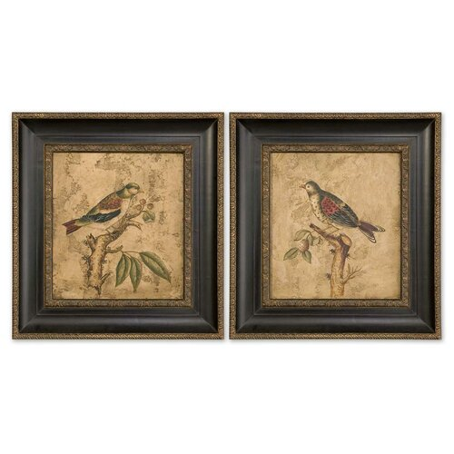 Colorful Birds on Branch 2 Piece Original Painting on Shadow Box Set