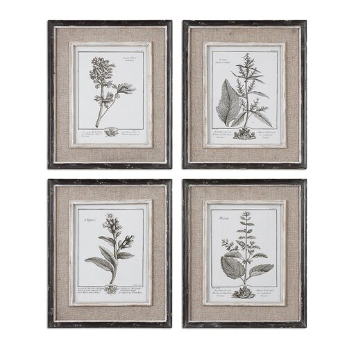 Casual Grey Study by Grace Feyock 4 Piece Framed Painting Print Set