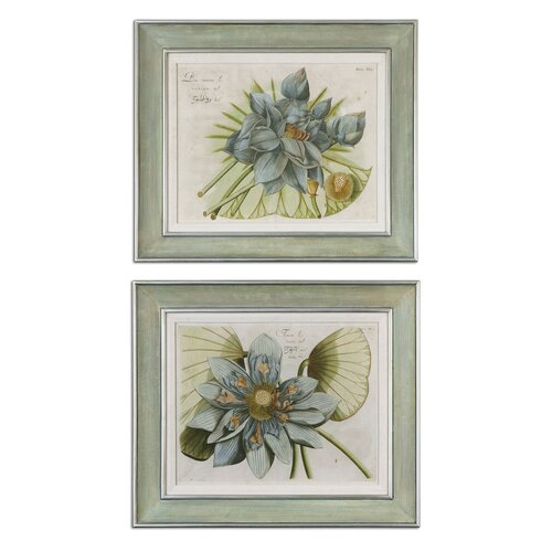 Uttermost Blue Lotus Flower by Grace Feyock 2 Piece Framed Painting Print Set