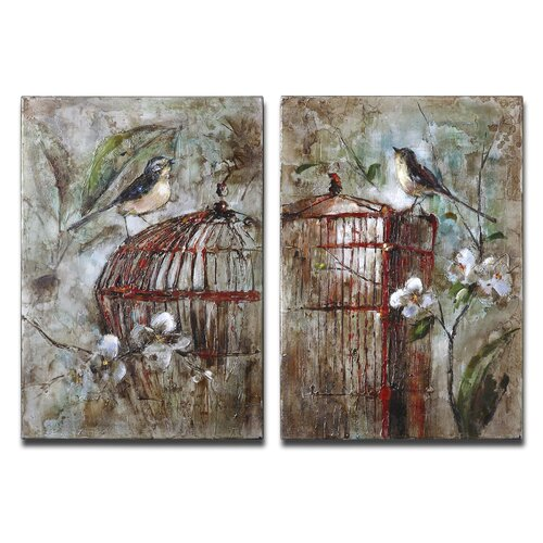Birds in a Cage 2 Piece Original Painting on Canvas Set