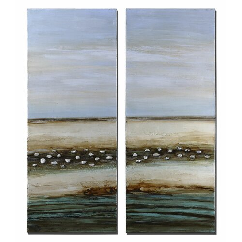 Seaside Illusion 2 Piece Original Painting on Canvas Set