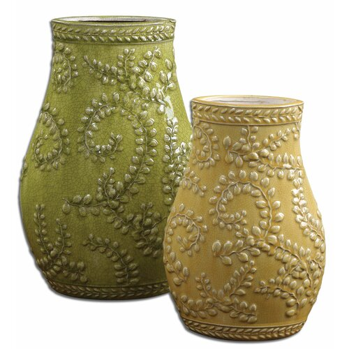 2 Piece Trailing Leaves Vase Set