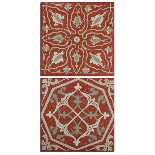 Moroccan Tiles 2 Piece Original Painting on Canvas Set