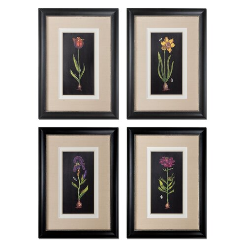 Springtime Flowers 4 Piece Framed Painting Print Set