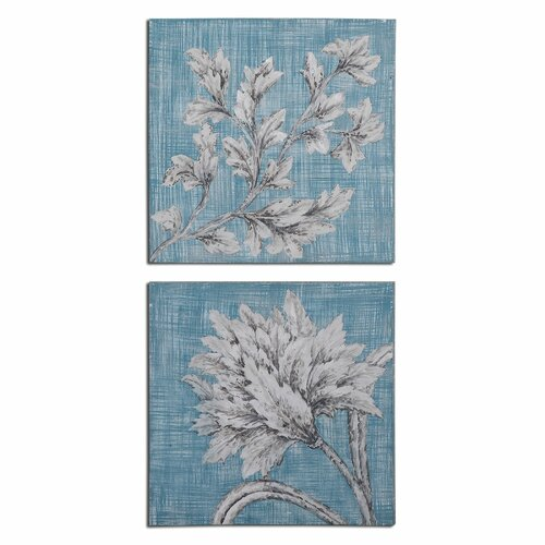 Teal Florals by Grace Feyock 2 Piece Original Painting Set