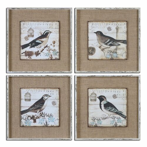 Black and White Birds by Grace Feyock 4 Piece Framed Graphic Art Set