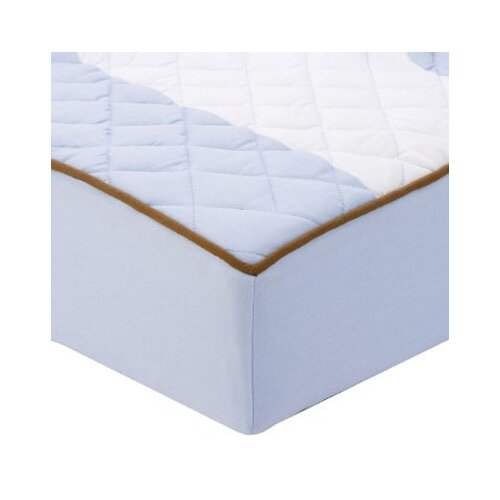Metro Quilted Changing Pad Cover in Blue and Chocolate