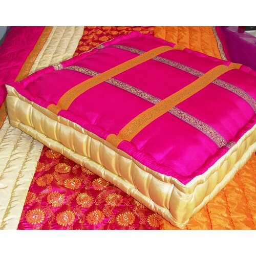 Bacati Tangerine Floor Square Pillow