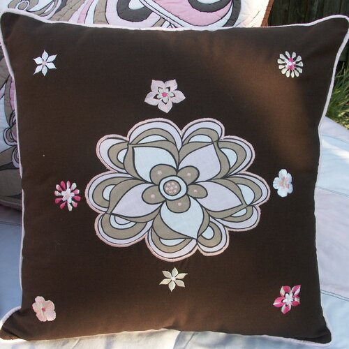 Retro Flowers Embroidered Pillow