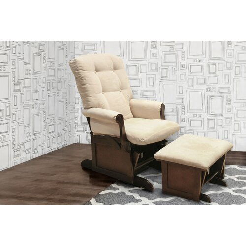 Sleigh Multiposition Lock Glider and Ottoman