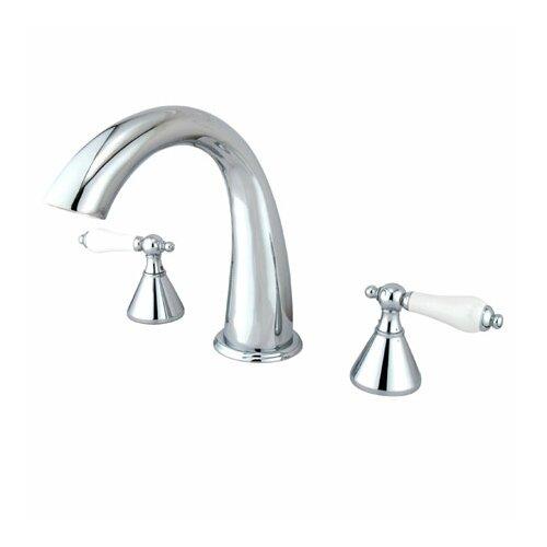 Elements of Design Double Handle Deck Mount Roman Tub Faucet Trim Porcelain Lever Handle