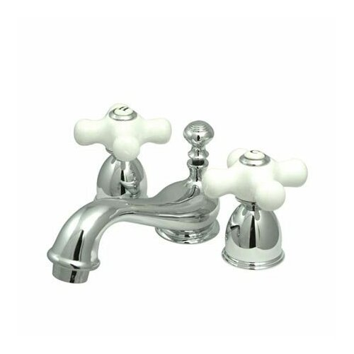 Elements of Design Mini Widespread Bathroom Faucet with Double Porcelain Cross Handles