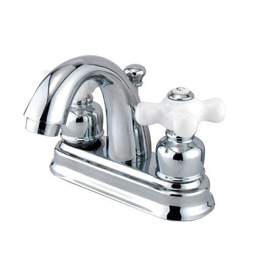 Elements of Design Centerset Bathroom Faucet with Double Porcelain Cross Handles