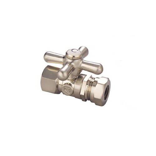 Elements of Design Made to Match Straight Stop Quarter Turn Valve with Metal Cross Handles in Satin Nickel