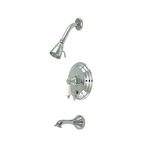Elements of Design Heritage Thermostatic Pressure Balanced Tub and Shower Faucet with Porcelain Lever Handles