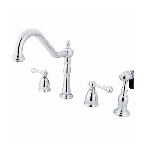 Heritage Double Handle Widespread Kitchen Faucet with Buckingham Lever Handles