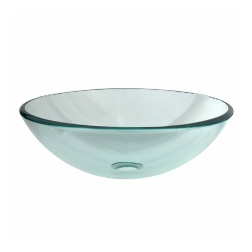 Round Temper Glass Vessel Bathroom Sink