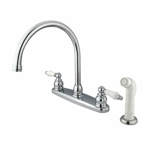 Elements of Design Victorian Double Handle Centerset Goose Neck Kitchen Faucet with Porcelain Lever Handles and White Side Spray