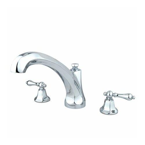 Elements of Design Metropolitan Double Handle Deck Mount Roman Tub Faucet Trim Metal Lever Handle