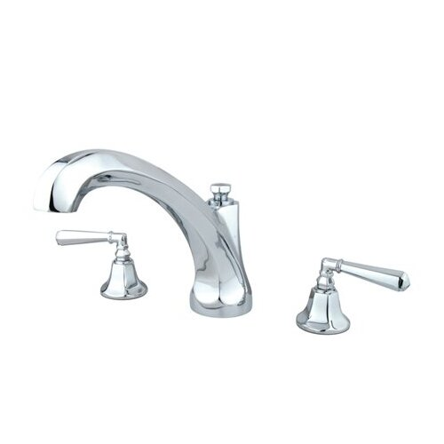 Elements of Design Metropolitan Double Handle Deck Mount Roman Tub Faucet Trim Hex Lever Handle
