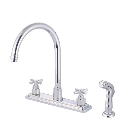 Elements of Design Tampa Two Handle Centerset Kitchen Faucet with Elinvar Cross Handles